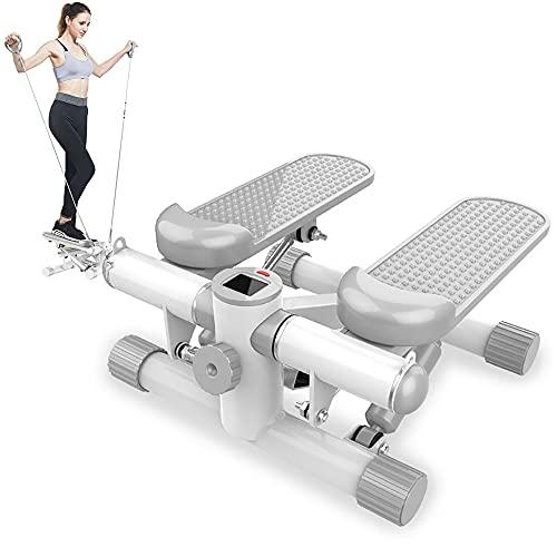 Stepper Cardio Fitness, Mini Stepper con Cintas, Máquina De Step para Fitness, Máquina de Step para Hacer Ejercicio en Casa, Swing Stepper para Usuarios Principiantes y Avanzados