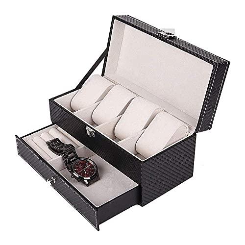 N\C ZSCC - Caja organizadora de joyas, caja de reloj actualizada, organizador de relojes, caja de exhibición de joyas, cajón, pendientes, organizador de almacenamiento con cerradura