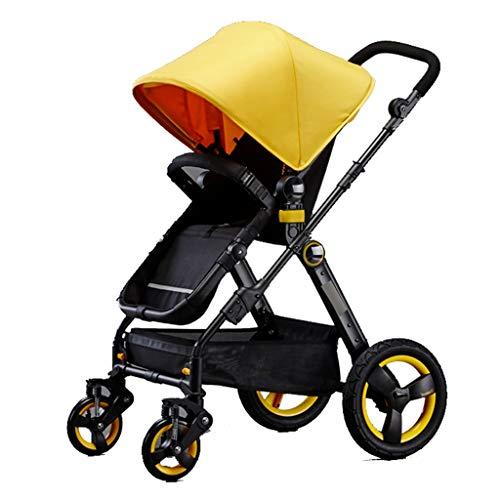 GXY Cochecito plegable ligero para niños con paisaje alto que se puede sentar (color: amarillo, tamaño: 106 x 80 x 34 cm)