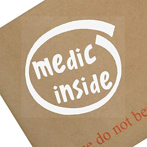 Platina Plaats 1 x Medische Binnen-Wit op Clear-87x87mm-Raam, Auto, Van, Sticker, Teken, Voertuig, Lijm, Leger, Oorlog, Eerste, Hulp, Gevecht, Soldaat, Dienst, Eer, Dapper, Medische, Assistentie, Ambulance, Dokter