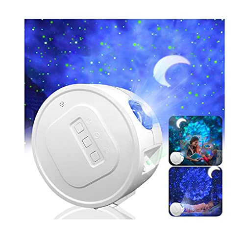 Pinshion Star Projector Light, Bluetooth Speaker Voice Control Christmas Projector Light Sky Twilight Star Ocean Wave Projection LED Night Projector Light for Bedroom Holidays Party Home
