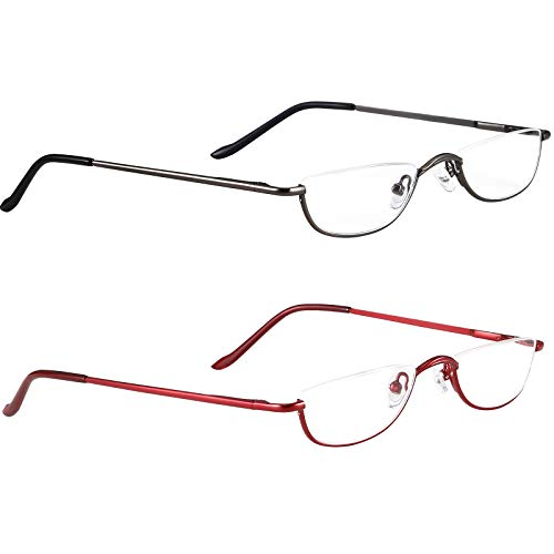 Half Frame Metal Reading Glasses,Stylish Spring Hinge,2 Pack Fashion Reader Eyeglasses with Pouch for Men Women 1.5 2.0 2.5 (Gun Grey and Red, 2.0)