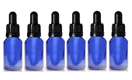 Blaue Glasflasche York mit Glas-Pipette im Deckel, 6 x 15 ml Flasche &Aromatherapie/Bach/Tinktur/Ohrentropfen/Augentropfen.