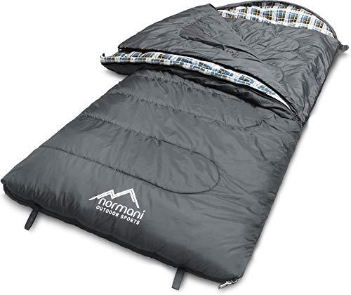 normani 4-in-1-Funktion Extrem Outdoor Schlafsack 'Antarctica' aus Nylon Rip-Stop mit 500 + 250 g/m² Hollow Fiber Füllung 220 x 90 cm Farbe Grau Größe Rechts