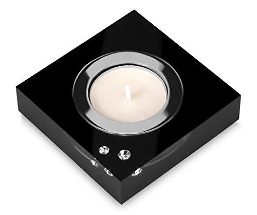 My IMPLEXIONS Moderner Teelichthalter Simply 2 veredelt mit Swarovski Kristallen/Stilvolle Tischdeko (Schwarz)