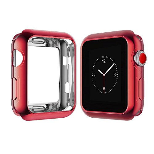 Apple Watch Case for Series 3, Series 2, Series 1 38mm, Icesnail Apple Watch Plate Soft Slim Protective Cover Bumper for iWatch Nike+, Sport, Edition All Models (Red, 38mm)