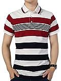 FRTCV Mens Stripe Polo Shirts Short Sleeve Slim Fit Shirts US XL/Asian 4XL Red H06D