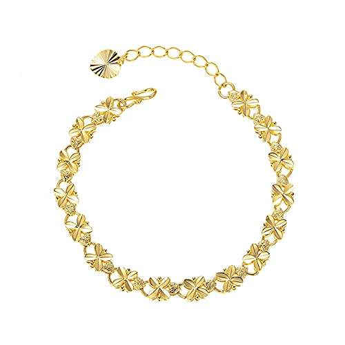 Pulsera para mujerPulsera retro de cuatro hojas chapada en oro de 24k, pulsera minimalista, delicada joyería personalizada, regalo para mujeres / niñas, oro