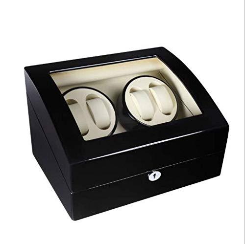JYTFZD HAOYANG-Caja de Reloj- Reloj Winder Fibra de Carbono Dual Ultra-silencioso Rotación automática de Rotación de Rotación Reloj Winder Watder Box/HDDSBYBQ-1196 (Color : Black 2)