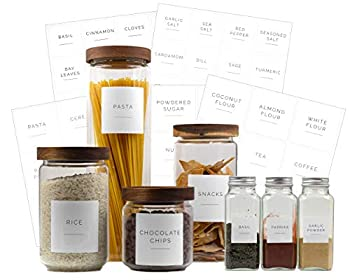 Brook & Meadow Kitchen Pantry Labels & Spice Labels-  75 Labels  48 Spice Jar Labels & 27 Labels for Food Containers- Preprinted Waterproof Pantry Labels & Food Stickers for Pantry Organization