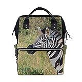 Africa Wildlife Animal Zebra mochila bolsa de pañales para mamá y mujer, bolsa de viaje grande para la escuela, portátil, senderismo