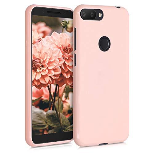 kwmobile Cover Compatibile con Alcatel 1S - Cover Custodia in Silicone TPU - Backcover Protezione Posteriore- Oro Rosa Matt