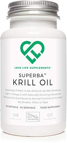 LLS Superba Krill Oil | Pescato in modo sostenibile da Aker BioMarine | 500mg x 60 Softgels | per cuore sano, articolazioni e supporto immunitario