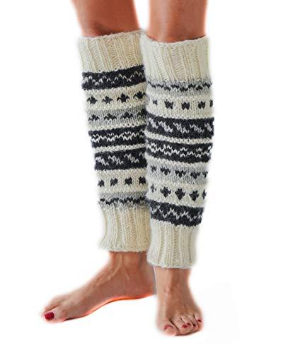 White/Black Hand Knit Wool Fleece Lined Leg Warmers Boot Toppers | Tibetan Socks