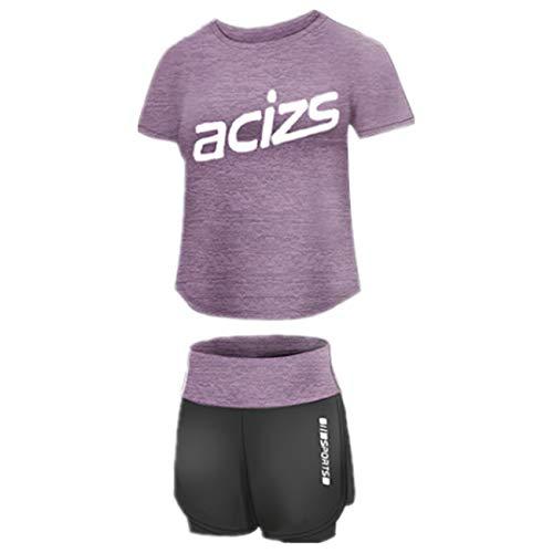 WOOKIT 2-teiliges Yoga-Set Sportbekleidung Kurzarm T-Shirt + Shorts / Hosen Sportbekleidung zum Laufen Radfahren Fitness-D-Violett-M