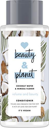 Love Beauty and Planet Volume and Bounty Acondicionador para cabello fino, agua de coco y flor de mimosa sin silicona, 1 unidad (400 ml)