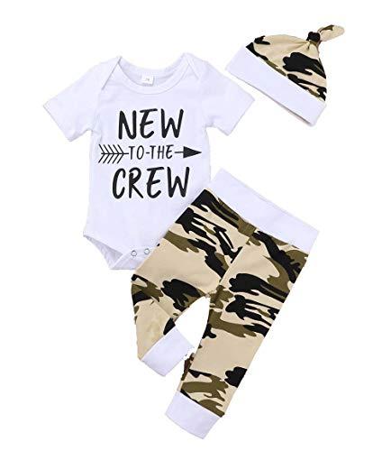 Ropa de bebé recién Nacido Nuevo en Equipo 3 Piezas Trajes Sombrero de Mameluco Otoño Invierno Conjunto de Pantalones de Camuflaje