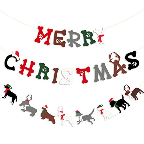 Merry Christmas Banner Kit Dog Hanging Paper Bunting Garland with Christmas Hat Scarf Reindeer Antlers Dog Paws and Bones for Holiday Birthday New Year Xmas Party Decorations Supplies
