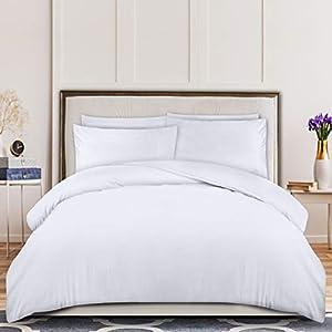 Utopia Bedding Funda Nórdica Cama 135/150 - Microfibra Juego de Funda de Edredón 230x220 cm y 2 Fundas de Almohada 50x75 cm (Blanco)