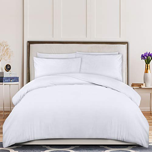 Utopia Bedding Duvet Cover Set - Brushed Microfibre Duvet Cover with 2 Pillowcases (King, White)