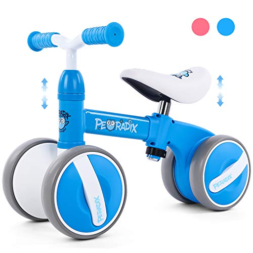 Peradix Baby Balance Bikes Adjustable Bicycle 10-36 Months Toddlers Walker | Riding Toys for 1 Year Old Children Boys Girls | No Pedal 4 Wheels Infant Toddler Bicycle | Best First Birthday Gift (Blue)