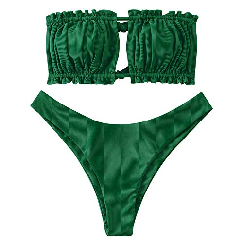 ZAFUL Women's Strapless Ribbed Tie Back Ruffle Cutout Bandeau Bikini Set Swimsuit (Green, L)