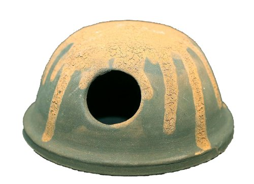 Namiba Terra 6550 Cachette en céramique en Forme de Noix de Coco sans Sol et avec 1 Ouverture Anthracite Ø 12 cm Hauteur 8 cm