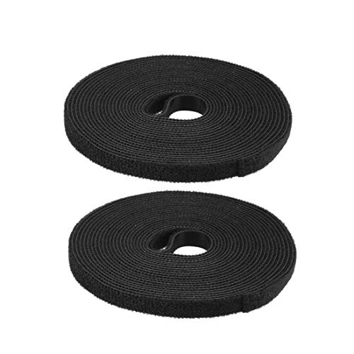 DyniLao Sujetacables reutilizables 5m 16.4ft Correas de alambre Sujetador de cable ajustable Negro 2pcs