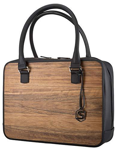 SEBASTIAN STURM Handtasche MARY | Gefertigt aus Echtholz Typ Amazaque und Rindleder | Henkeltasche Schwarz | By, Schwarz / Amazaque, 36.0 x 27.0 x 9.0 cm