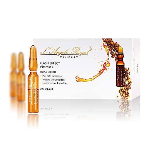 L'Angela Royal Ampollas Flash Effect (Efecto Inmediato) Vitamin C, Súper Vitamin C, Piel Más Luminosa, Antioxidante, Tratamiento Facial, Para Piel seca, Grasa y Mixta, 30 x 1.5ml