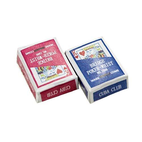asdfwe 1 Juego Mini Juegos Papel Poker 1/12 Miniatura De Muñecas De Juguete Decoración del Dollhouse Accesorios Color Azar