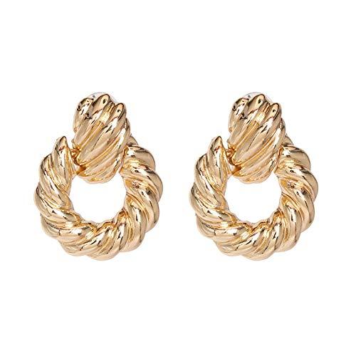 Z&HA Ohrringe für Frauen Schlenker, verdrillte Leitungen Wellenförmige Ohrringe Angeschlossen An Holzperlen Drop4.2 cm, Kupfer überzogene Gold-Ton,01