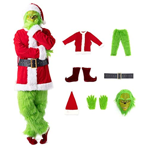 Z-Life Natale Adulti Grande Grinch Costume 7Pcs Xmas Uomini Furry Santa Perfettamente Vestito Operato Cosplay Attrezzatura Verde con Maschera Cappello Cintura Guanti Scarpe Copertine (Size : Medium)
