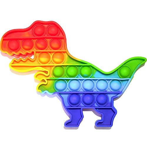 Pop it Fidget Toy | Juguete Antiestrés Burbujas de Silicona para Niños y Adultos, Juego Relajante, Sensorial y Educativo, Alivia Estrés y Ansiedad, Push Pop Bubble Arcoíris Multicolor (Dinosaurio Rex)