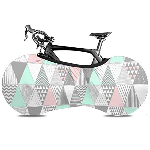 Grunge Music Cubierta de Bicicleta Portátil Interior Anti Polvo Alta Elástica Cubierta de Rueda Cubierta de Bicicleta Protector Rip Stop Neumático Carretera MTB Bolsa de Almacenamiento, Triángulo de geometría, talla única