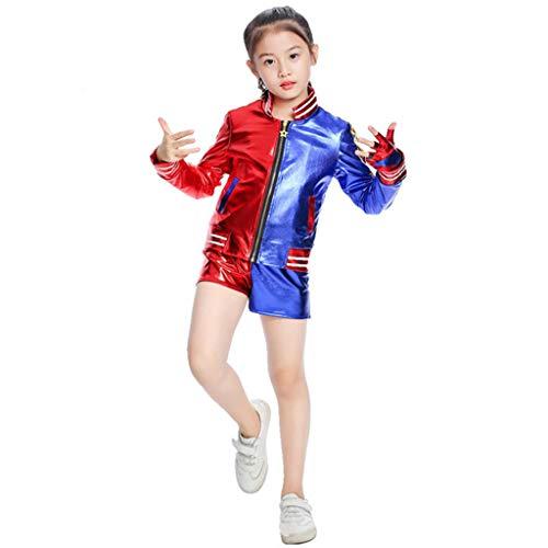 Baipin Disfraz de Suicide Squad Cosplay Harley Quinn, Traje de Disfraz Joker's niña Infantil con Camiseta, Pantalones y Chaqueta Apto para Altura 100-110cm