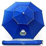 OCOOPA Beach Umbrella, 7.2ft Umbrella with Ultra Breathable & Tilt Aluminum Pole, Portable Beach Umbrella with Carry Bag for Beach Patio Garden Outdoor (Royal Blue)
