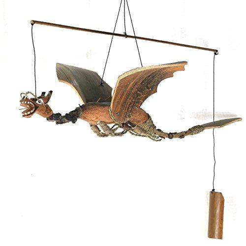 ART-CRAFT WSDR001 Windspiel Mobile Outdoor Indoor Drachen XL aus Kokos und Bambus LxBxH 60x40x40cm
