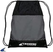 "CHAMPRO Sports Drawstring Bag with Zipper Pocket, Charcoal, 18"" H x 14"" W"