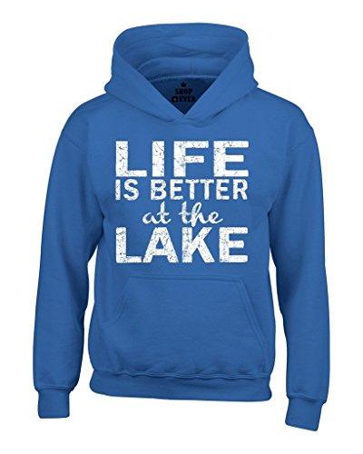Shop4Ever Life is Better at the Lake Hoodies Sayings Sweatshirts Medium Royal Blue 0