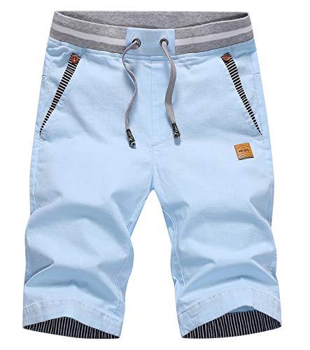 CLOUSPO Herren Shorts Bermuda Shorts Chino Shorts Sommer Kurze Hosen (EU M/CN 3XL, Blau)
