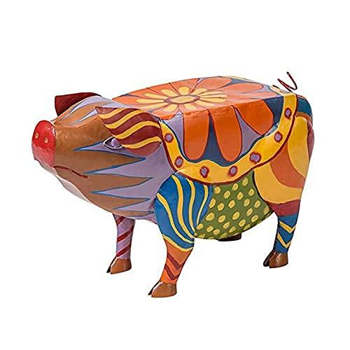 Shanji Cerdo Patio Mesa auxiliar Colorido Arte Popular Animal Resina Estatuas Cerdo Mesa auxiliar Esculturas Artesanía para Jardín Patio Paisaje