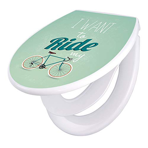 banjado Familien WC Sitz mit Absenkautomatik | Toilettendeckel mit Kindersitz | Klodeckel weiß | Toilettensitz mit Soft Close | 44 x 37 cm WC Deckel mit Motiv I want to ride my bike