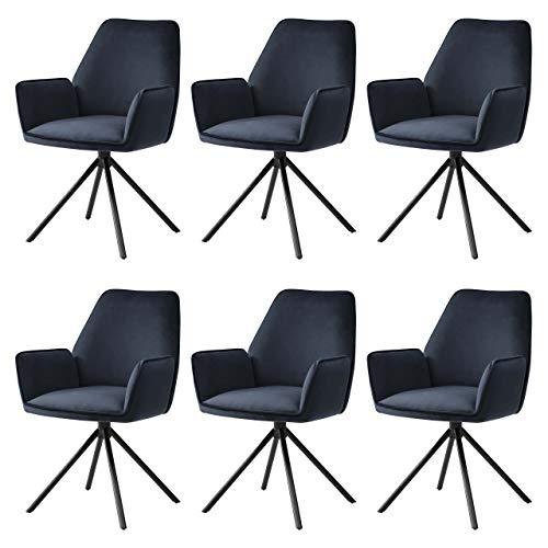 Mendler 6X Esszimmerstuhl HWC-G67, Küchenstuhl Stuhl mit Armlehne, drehbar Auto-Position - Samt, anthrazit-blau