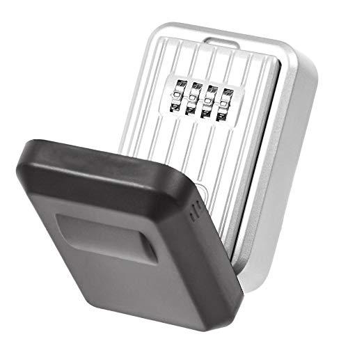 AmazonBasics - Caja de almacenamiento para llaves con cubierta resistente al agua, cierre de combinación, montaje en pared, color Gris