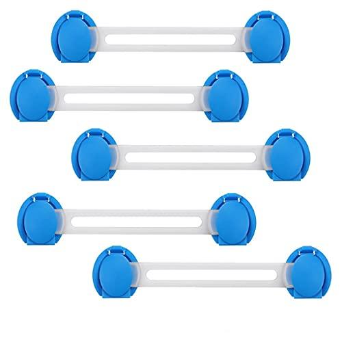 Yousiju 5 Pcs Cabinet Locks Safety Protection for Security Straps Drawer Lock Wardrobe Refrigerators Long (Color : Blue2)