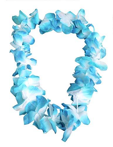 Juego de 6 collares para disfraz de HAWAIIAN LEI de 9 cm, diseño de flores, color azul