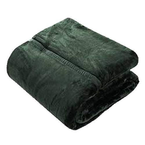 LIANG Manta de franela de piel sintética, ligera, acogedora y cálida, tamaño individual o doble XL (color: verde, tamaño: 140 x 200 cm)