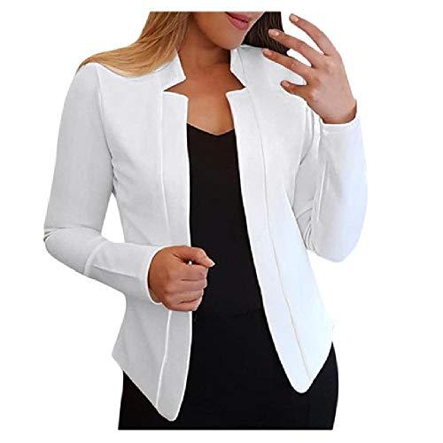 N\P Blazer - Blazer para mujer, traje de oficina con solapa, manga larga, suéter fino Blanco XXL