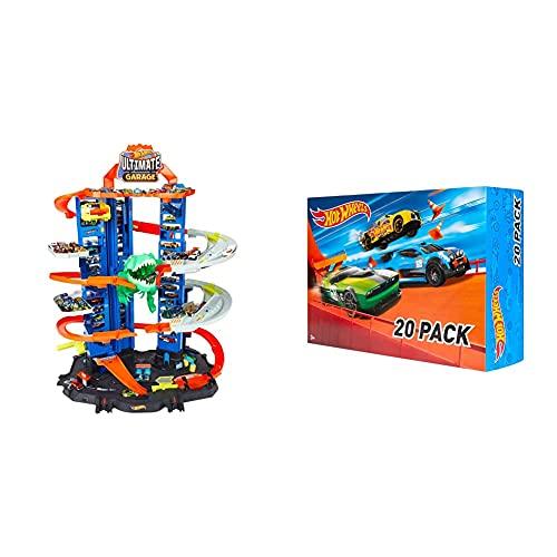 Hot Wheels GJL14 City Robo T Rex Megacity Parkgarage mit Spielzeug Dinosaurier inkl. 2 Spielzeugautos & DXY59 20er Pack 1:64 Die-Cast Fahrzeuge Geschenkset, je 20 Spielzeugautos